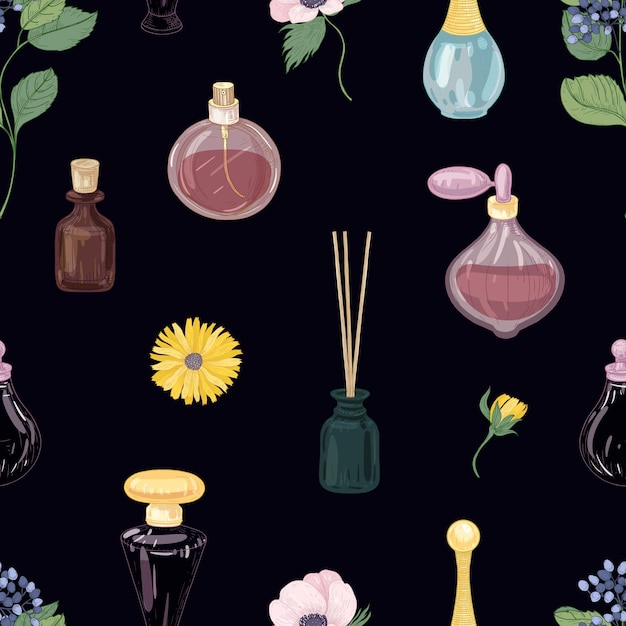 Seamless pattern with aromatic perfumes in glass decorative bottles and elegant blooming flowers Premium Vector