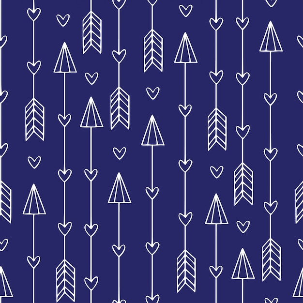 Seamless pattern with arrows. modern ethnic print. minimalistic arrows Premium Vector