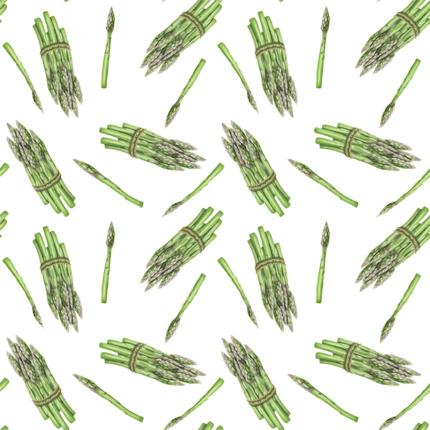 Seamless pattern with asparagus hand drawn Premium Vector