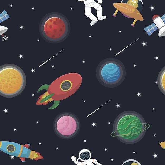 オープンスペースでロケットとエイリアンと宇宙飛行士とのシームレスなパターン Premiumベクター