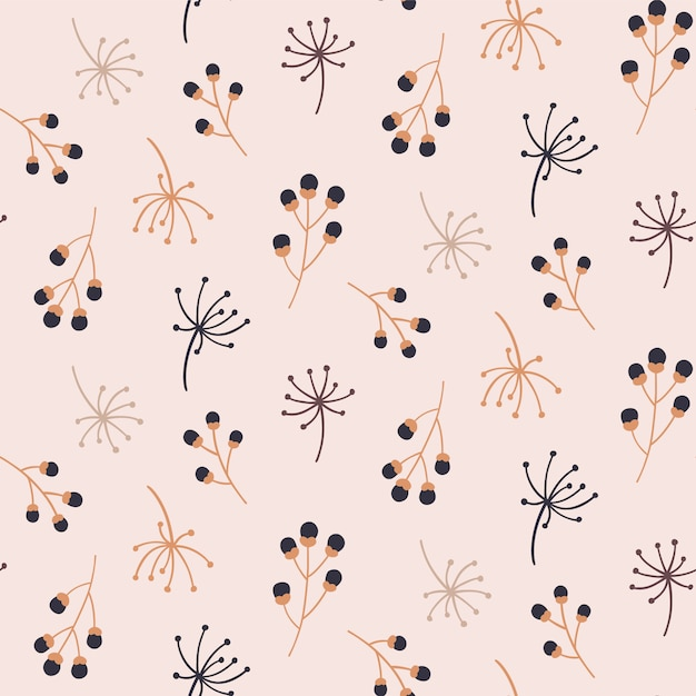 Seamless pattern with autumn floral elements. Premium Vector