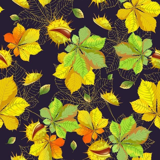 秋の紅葉と暗い背景に栗のシームレスなパターン。 Premiumベクター