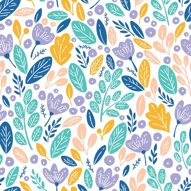 Seamless pattern with autumn leaves and flowers Premium Vector