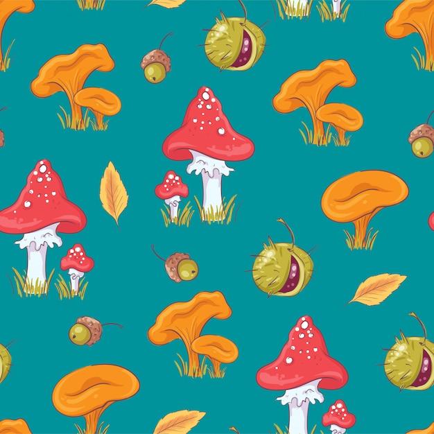 Бесшовный фон с осенними грибами и каштанами. Premium векторы