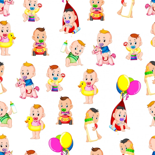 Seamless pattern with baby happy playing Premium Vector