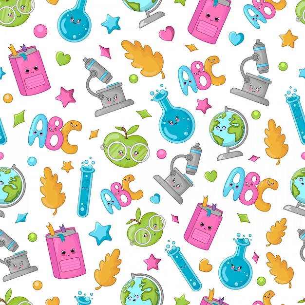 Seamless pattern with back to school concept, kawaii cute cartoon characters Premium Vector