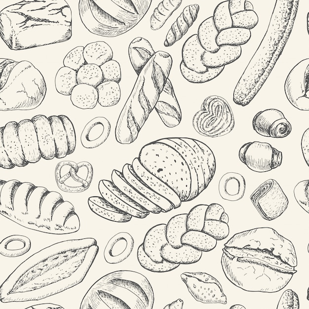 Seamless pattern with bakery products Premium Vector