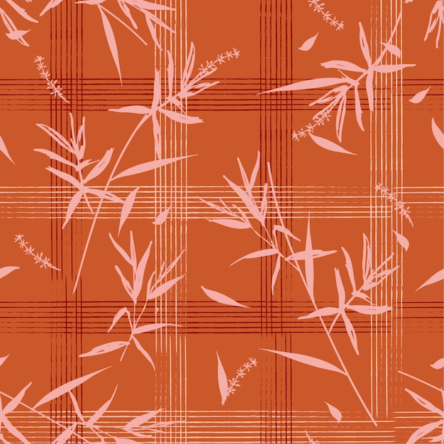 Seamless pattern with bamboo leaves on hand drawn grid check Premium Vector