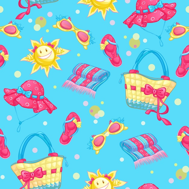 Seamless pattern with beach accessories and sun Premium Vector