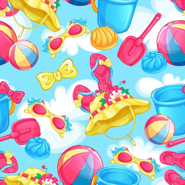 Seamless pattern with beach holiday items. Premium Vector