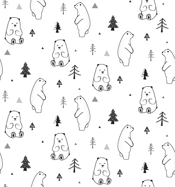 Seamless pattern with bear and forest Premium Vector
