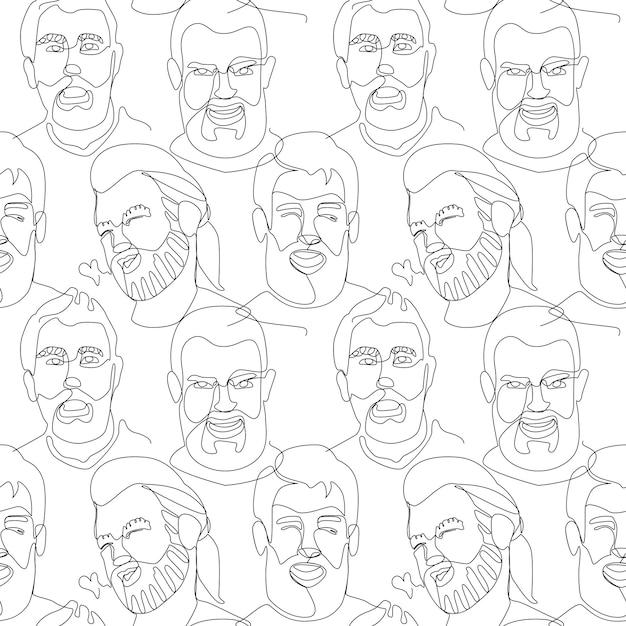 수염 난된 남자 초상화 한 라인 아트와 완벽 한 패턴 프리미엄 벡터