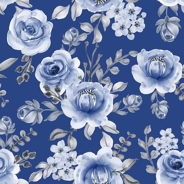 Бесшовный фон с красивыми синими цветочными листьями военно-морского флота Бесплатные векторы