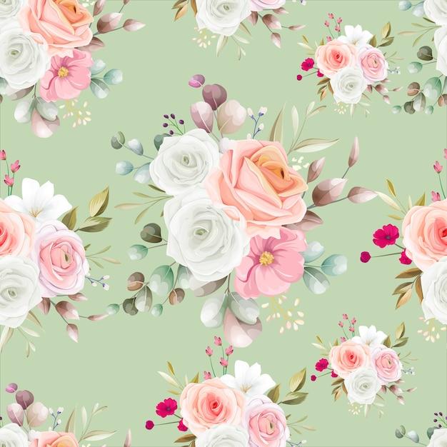 아름 다운 꽃으로 완벽 한 패턴 무료 벡터