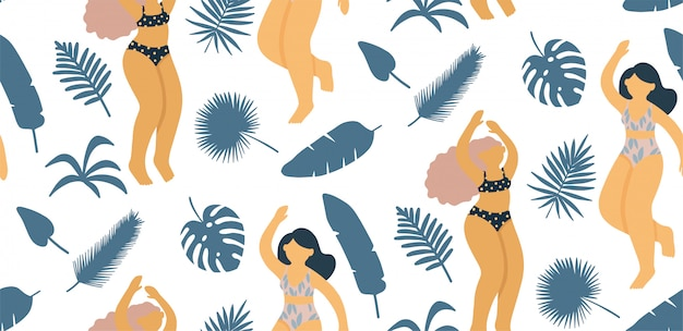 Seamless pattern with beautiful lady on the beach. element for a summer party in the flat style. Premium Vector