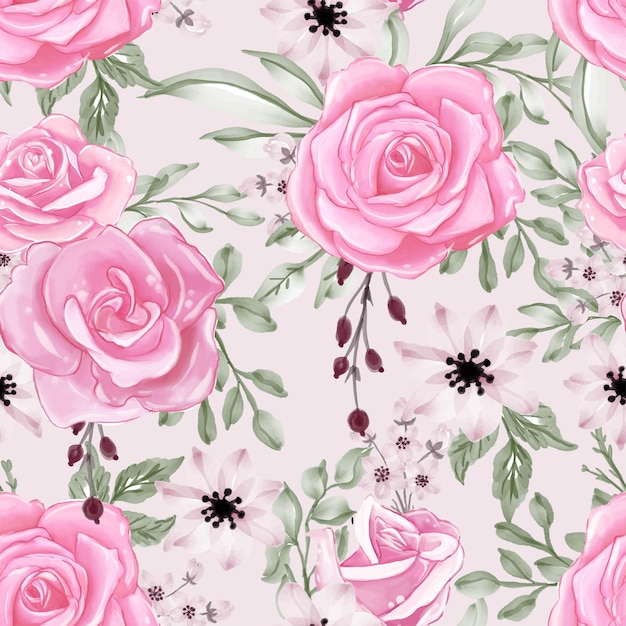 Seamless pattern with beautiful pink flower and leaves Free Vector