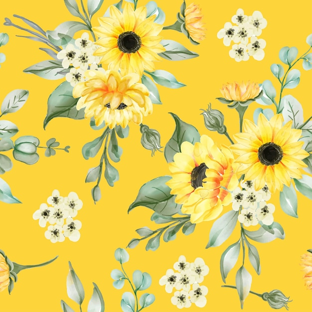 Seamless pattern with beautiful sun flowers and leaves Free Vector