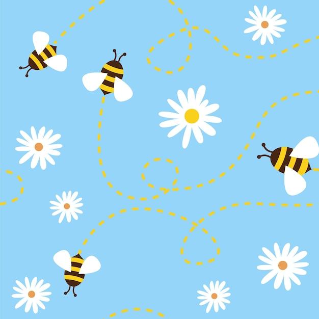 青い背景に蜂と花とのシームレスなパターン。 Premiumベクター