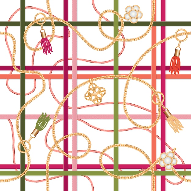 Seamless pattern with belts,chains, pendant and tassels. Premium Vector