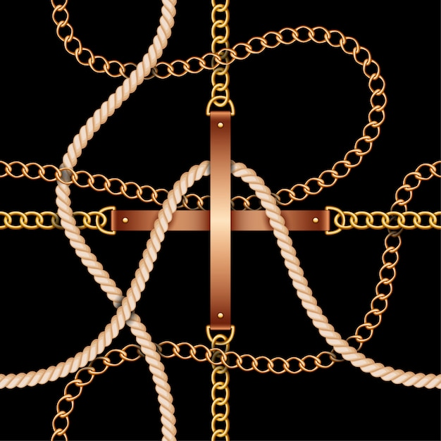 Seamless pattern with belts, chains and rope Premium Vector