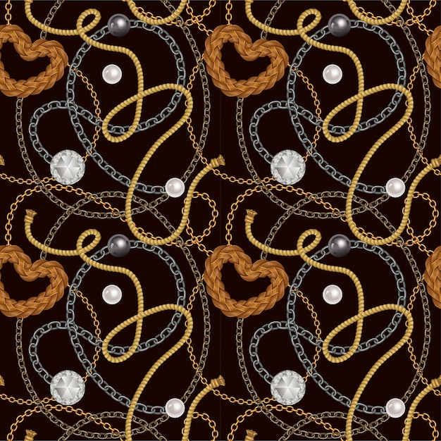 Seamless pattern with belts, chains. Free Vector