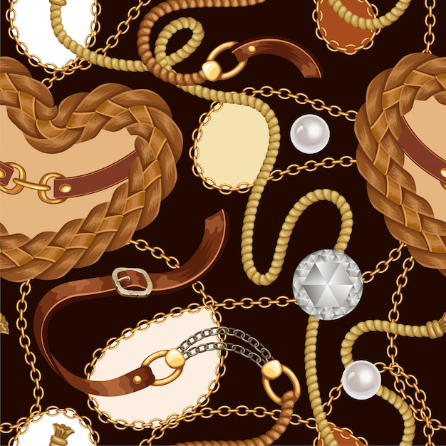 Seamless pattern with belts, fringe and chains. Premium Vector
