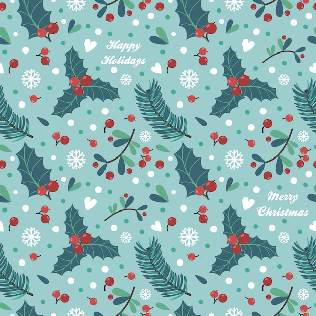 Seamless pattern with berries, leaves Premium Vector
