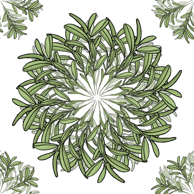 Seamless pattern with big and small mandalas of olive branches Premium Vector
