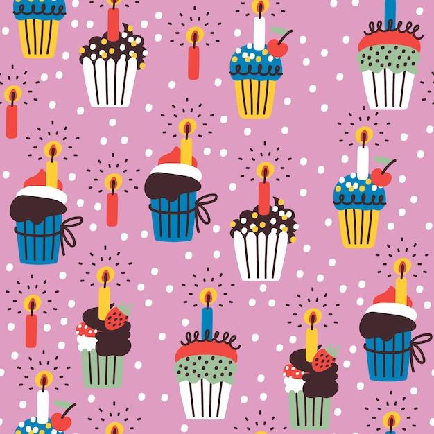誕生日のカップケーキとのシームレスなパターン Premiumベクター