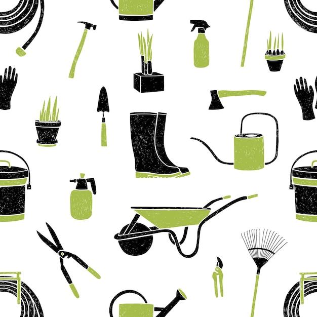 Бесшовный фон с черно-зелеными садовыми инструментами на белом Premium векторы