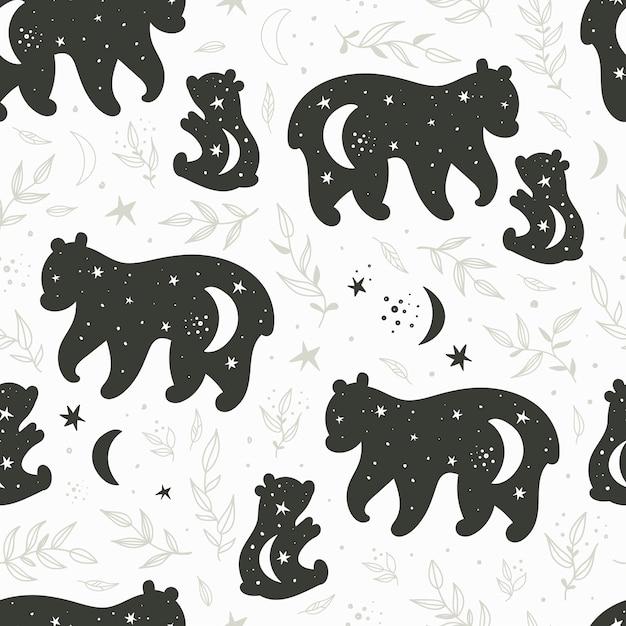 Безшовная картина с черно-белыми силуэтами медведя и плюшевого медвежонка Premium векторы