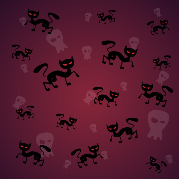 Seamless pattern with black cat and skull happy halloween. traditional decoration horror Premium Vector