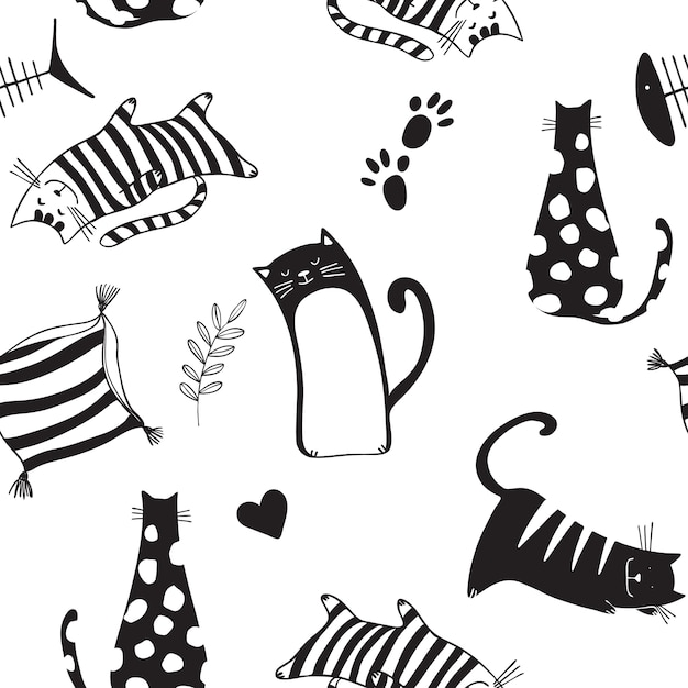 Seamless pattern with black cats Premium Vector
