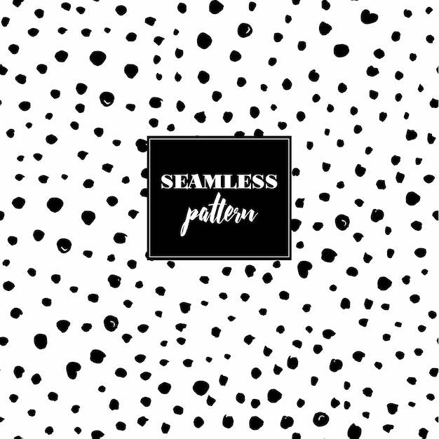 Seamless pattern with black dots Free Vector