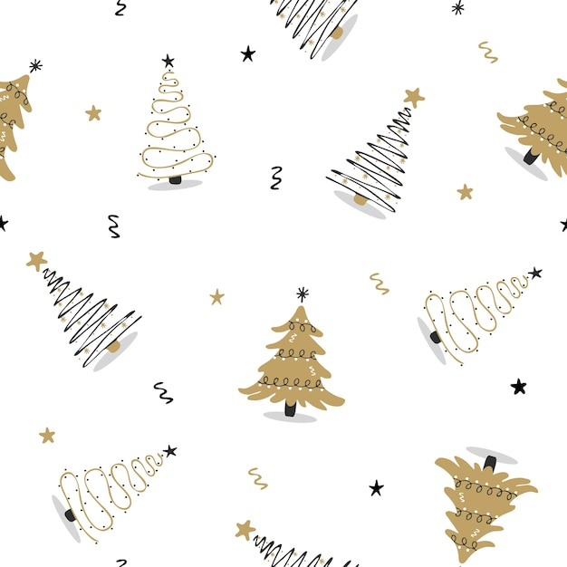 Seamless pattern with black and gold christmas tree. Premium Vector