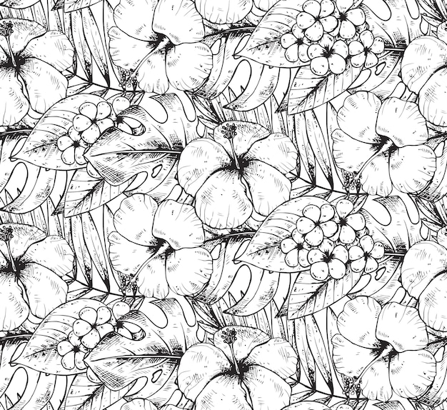 Seamless pattern with black and white hand drawn tropical plants and flowers with watercolor texture. summer hawaiian  background. Premium Vector