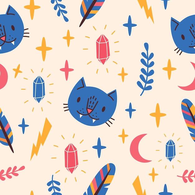 青い猫、月、クリスタルとのシームレスなパターン。 Premiumベクター