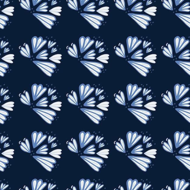블루 Contoured 꽃 모양으로 완벽 한 패턴입니다. 어두운 해군 배경. 간단한 꽃 배경. 벽지, 섬유, 포장지, 직물 인쇄용 Ed. 삽화. 프리미엄 벡터