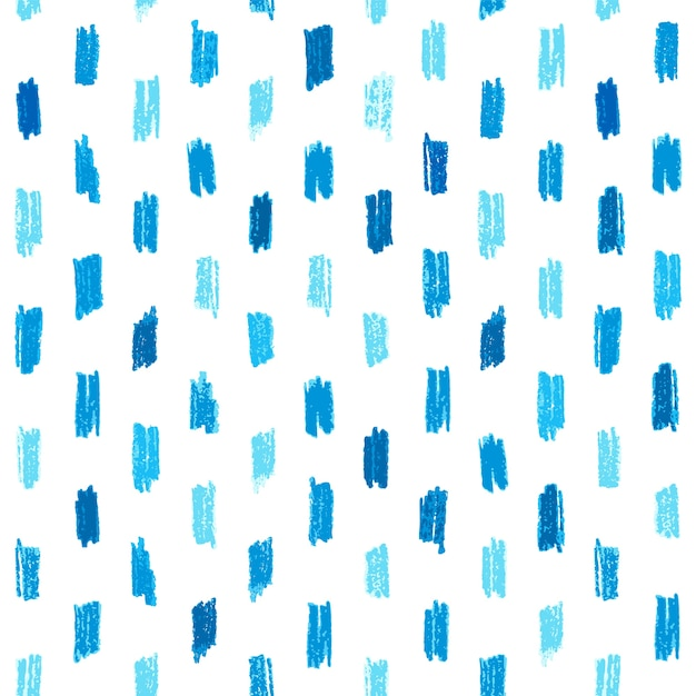 Seamless pattern with blue hand drawn crayon strokes. Premium Vector