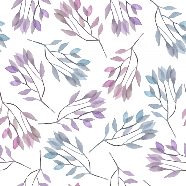 Seamless pattern with blue and purple watercolor branches Premium Vector