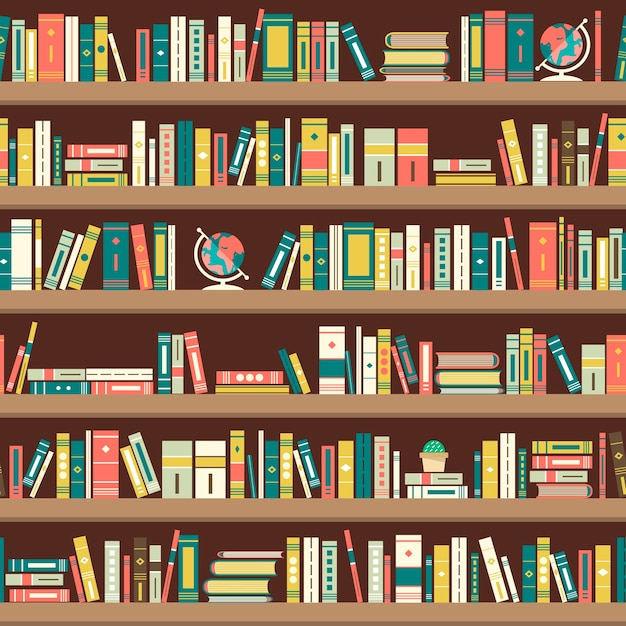 Бесшовный фон с книгами на книжных полках Premium векторы