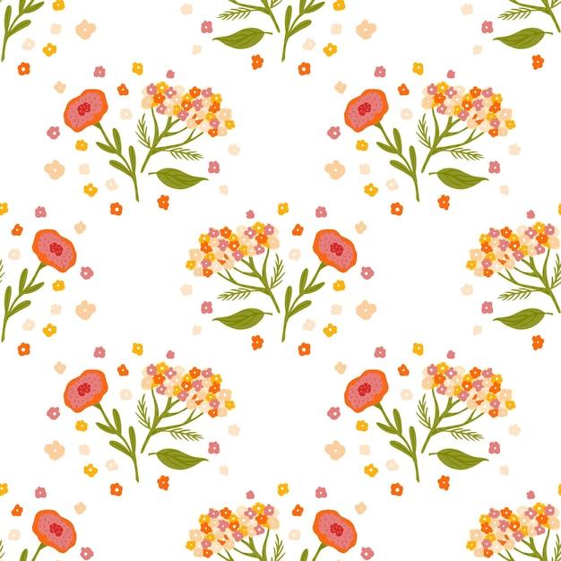 Бесшовный фон с ботаническим орнаментом цветы тысячелистника, изолированные на белом фоне. Premium векторы