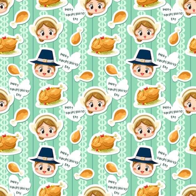 Seamless pattern with boy, girl and fried chicken. Free Vector