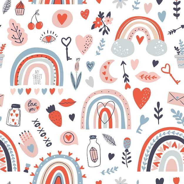 밝은 색상의 무지개와 함께 완벽 한 패턴입니다. 발렌타인 패턴 프리미엄 벡터