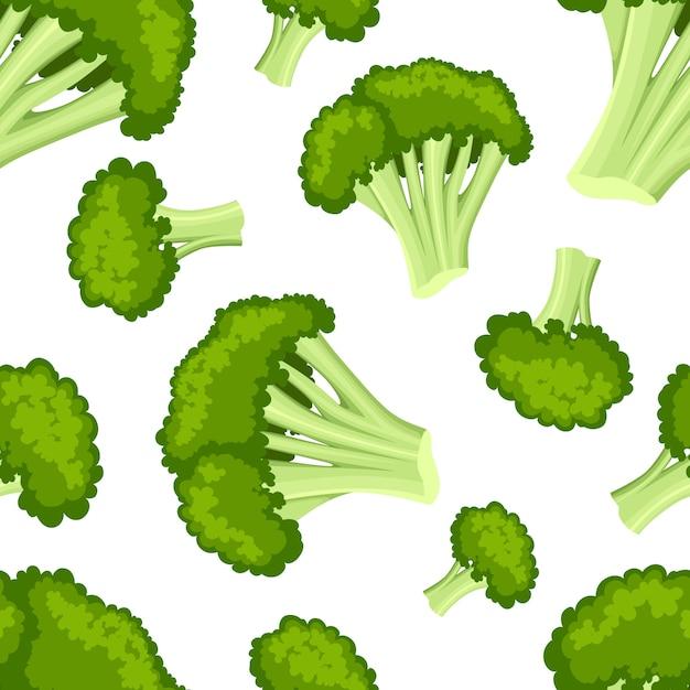 Бесшовный фон с иллюстрацией полезных овощей свежих продуктов в стиле брокколи на белом фоне страницы веб-сайта и мобильного приложения Premium векторы