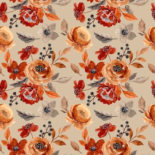 갈색 꽃 수채화와 완벽 한 패턴 프리미엄 벡터