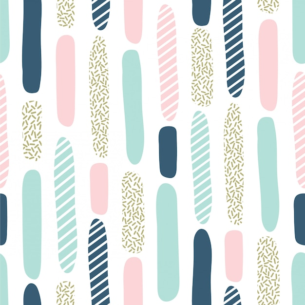 Seamless pattern with brush strokes and dot texture Premium Vector