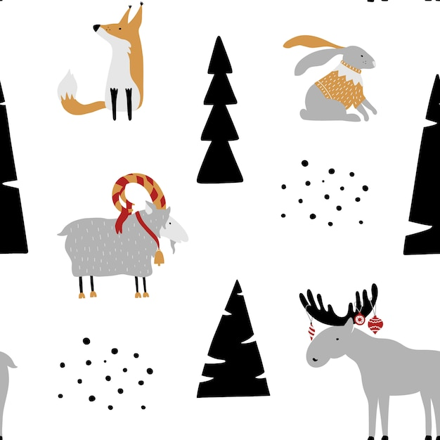 Seamless pattern with bunny, fox, goat, elk and trees. Premium Vector