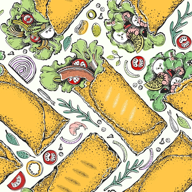 Seamless pattern with burrito. mexican food Premium Vector