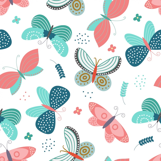 Seamless pattern with butterflies concept Premium Vector